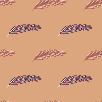 Impressão de padrão decorativo sem costura com elementos de penas simples de doodle. fundo bege. arte da natureza.