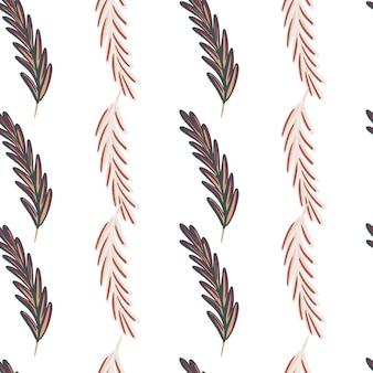 Impressão de padrão sem emenda boêmio com formas de penas doodle. fundo isolado. cenário da natureza. perfeito para design de tecido, impressão têxtil, embalagem, capa. ilustração vetorial.