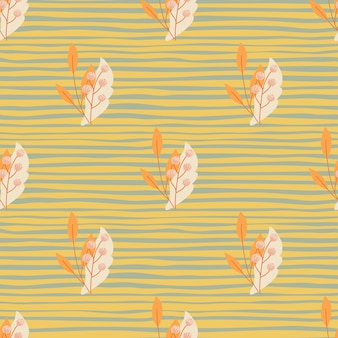 Impressão de padrão sem emenda da temporada de outono com bagas de sorveira laranja e folhas