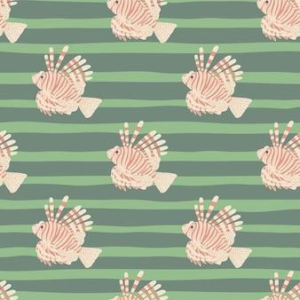 Impressão de padrão sem emenda de álbum de recortes com elementos de peixe-leão rosa pastel