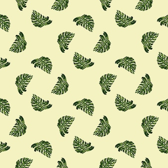 Impressão de padrão sem emenda de estilo geométrico com folhas verdes doodle monstera. fundo claro. ilustração vetorial para estampas de têxteis sazonais, tecidos, banners, cenários e papéis de parede.