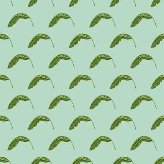 Impressão de padrão sem emenda de floresta com folhas verdes de bananeira. fundo azul pastel. estilo abstrato.