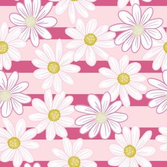 Impressão de padrão sem emenda de natureza com flores aleatórias de margarida. fundo listrado rosa. pano de fundo abstrato floral. ilustração das ações. desenho vetorial para têxteis, tecidos, papel de embrulho, papéis de parede.
