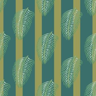 Impressão de padrão sem emenda de selva com silhuetas de folhas de samambaia. fundo listrado pálido turquesa e verde.