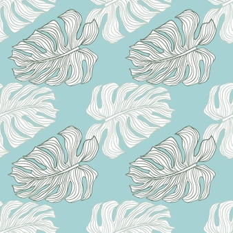Impressão de padrão sem emenda tropical com folhas contornadas de mostera. fundo azul. estilo exótico. cenário decorativo para desenho de tecido, impressão têxtil, embalagem, capa. ilustração vetorial.