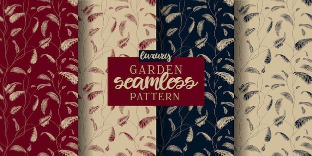 Impressão de pano de padrão de folhas de jardim de luxo