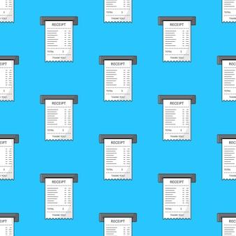 Impressão de papel verificar padrão sem emenda em um fundo azul. ilustração em vetor de tema de papel para recibo