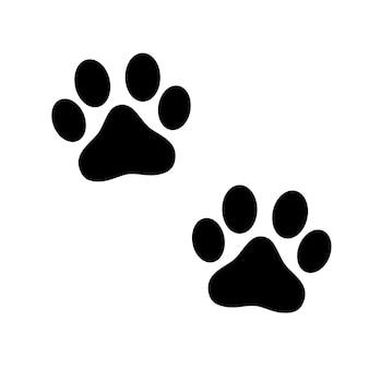 Impressão de pata animal preto isolado no fundo branco. ilustração vetorial.