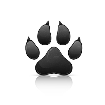 Impressão de pata de animal preto isolada.