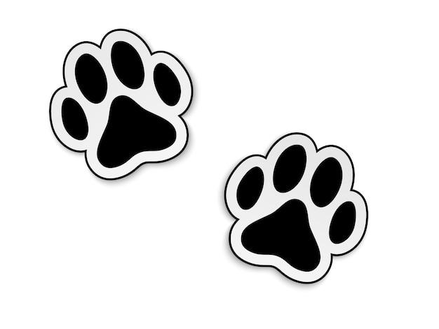 Impressão de pata de animal preto isolado no fundo branco.