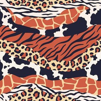 Impressão de pele de animal mista. as texturas do safari misturam, padrões de peles de leopardo, zebra e tigre. animais de luxo textura padrão sem emenda