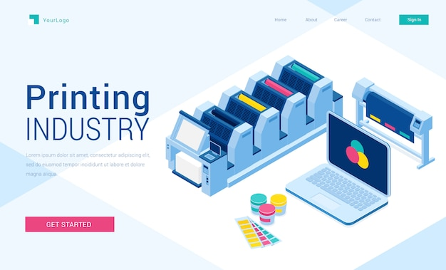 Impressão de poligrafia indústria pouso isométrico