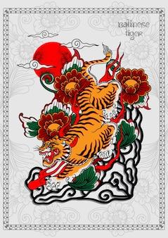 Impressão de pôster de tatuagem de tigre balinesa