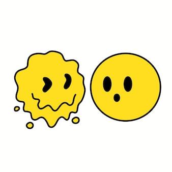 Impressão de rosto de emoji deformado e normal de derretimento para t-shirt, cartaz, logotipo, cartão. ilustração em vetor mão desenhada linha 70 estilo personagem de desenho animado. impressão de rosto psicodélico para t-shirt, cartaz, conceito de cartão