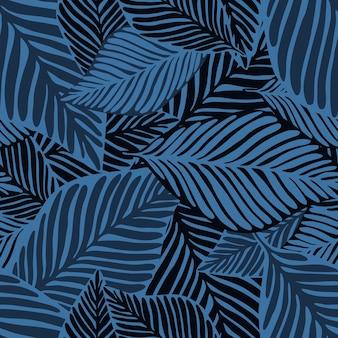 Impressão de selva azul abstrata. planta exótica. padrão tropical, folhas de palmeira de fundo floral vetor sem emenda.
