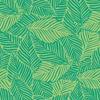 Impressão de selva verde abstrata. planta exótica. padrão tropical, folhas de palmeira de fundo floral vetor sem emenda.
