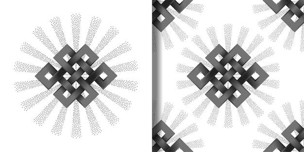 Impressão de símbolo de endless knots e conjunto de padrão sem emenda para adesivos de tatuagem e estampas de camisetas