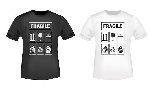Impressão de t-shirt com carimbo de sinais frágeis