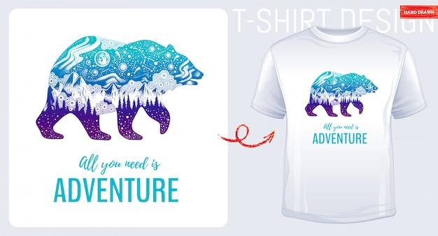 Impressão de t-shirt com grande urso e montanha.