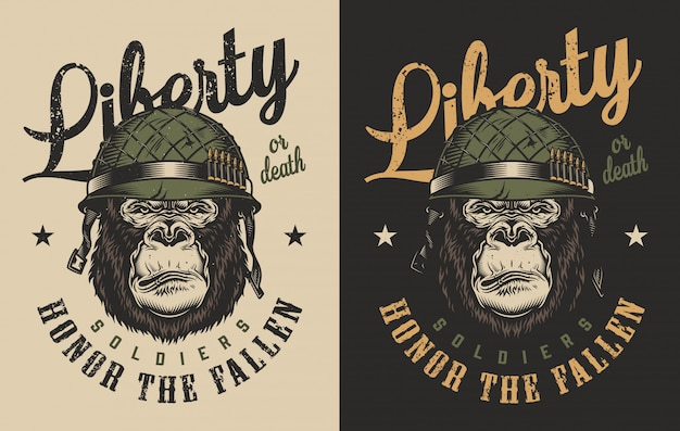 Impressão de t-shirt com o conceito de gorila