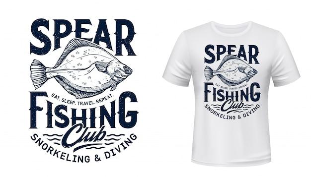 Impressão de t-shirt com peixe linguado. clube de pesca