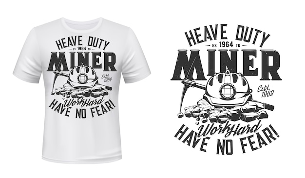 Impressão de t-shirt com picareta mineira e capacete, vestuário.