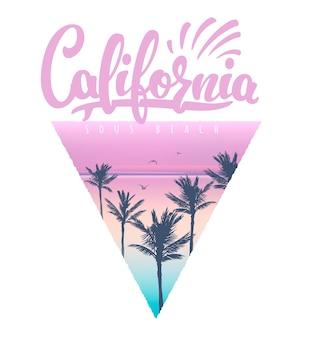 Impressão de t-shirt da praia da califórnia com palmas, ilustração.