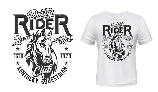 Impressão de t-shirt de cavalo garanhão, esporte equestre