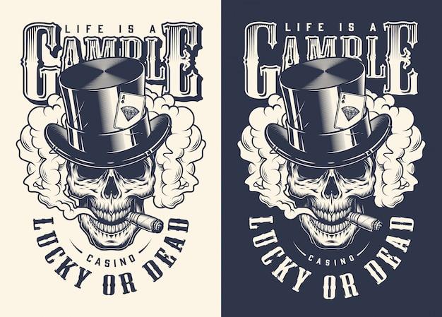 Impressão de t-shirt de conceito de cassino de crânio