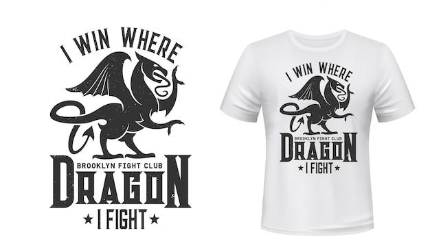 Impressão de t-shirt de dragão, emblema do clube de luta