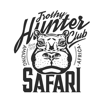 Impressão de t-shirt de hipopótamo, maquete do clube de caça