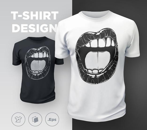 Impressão de t-shirt de lábios de mulher. boca sexy da garota preto e branco close-up. ilustração vetorial