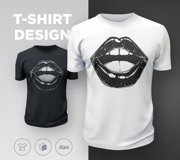 Impressão de t-shirt de lábios de mulher.