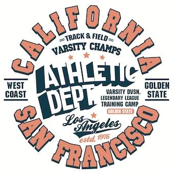 Impressão de t-shirt, design gráfico de camisa. selo de desgaste atlético da califórnia. emblema da tipografia do t do esporte. vetor