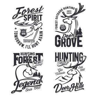 Impressão de t-shirt do clube de caça na floresta com veado