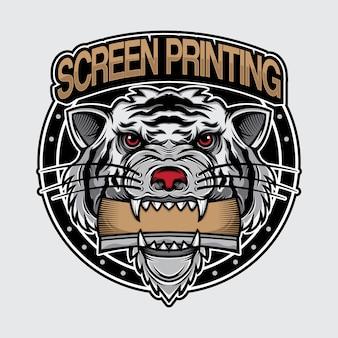 Impressão de tela de logotipo de tigre branco