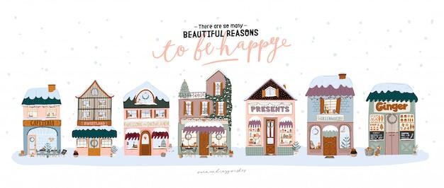Impressão de venda com fundo bonito de inverno, elementos de natal e letras da moda. bom modelo para web, cartão, cartaz, adesivo, banner, convite, panfletos. ilustração vetorial
