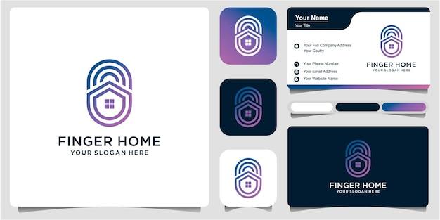 Impressão digital, bloqueio de impressão digital, chave da casa, segurança segura com cartão de visita. ilustração do ícone do logotipo vetor premium