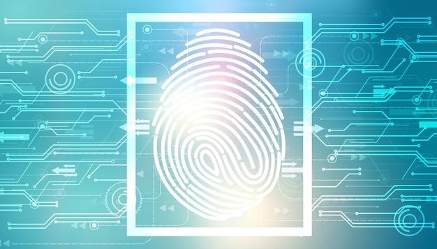 Impressão digital. conceito de sistema de segurança
