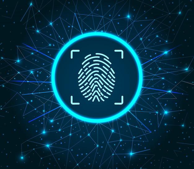 Impressão digital de identificação dados digitais iluminados