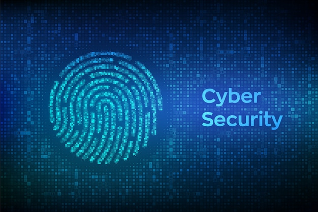 Impressão digital feita com código binário. identificação e aprovação biométrica.