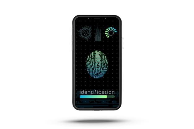 Impressão digital no smartphone isolado. desbloqueie o telefone. sistema de identificação de digitalização por impressão digital.