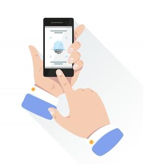 Impressão digital para identificação pessoal para desbloquear smartphone.