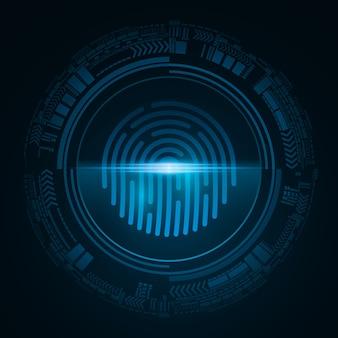 Impressão digital para segurança do sistema do computador com varredura de néon. botão de cadeado azul futurista com interface hud. digitalização a laser para dispositivo com tela de toque.