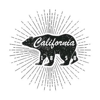 Impressão do grunge da califórnia com etiqueta de urso e sunburst no estilo vintage hipster