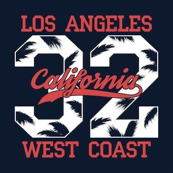 Impressão do número da califórnia em los angeles para camiseta com folha de palmeira