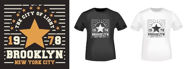Impressão do t-shirt da estrela de brooklyn