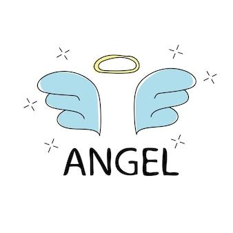 Impressão do vetor do anjo do slogan. para gráficos de camisetas - gráfico de tecido simples e fofo