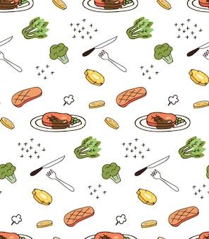 Impressão e padrão com alimentos e legumes