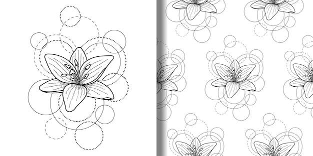 Impressão e padrão sem emenda com lírios e círculos